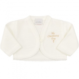 Baby Girls Ivory My Christening Day Acrylic Bolero
