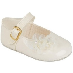 Baby Girls Ivory Patent Organza Flower Christening Pram Shoes