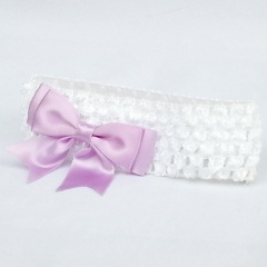 Baby Girls White Crochet Headband with Lilac Satin Bow