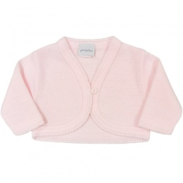 Baby Girls Pink Plain Acrylic Long Sleeved Bolero
