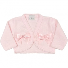 Baby Girls Pink Double Bow Acrylic Bolero