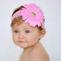Baby Girls Pink Large Diamante Flower Crochet Headband