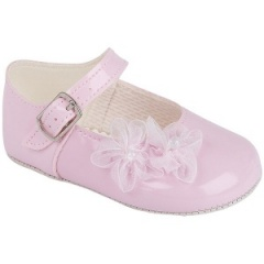 Baby Girls Pink Patent Organza Flower Christening Pram Shoes