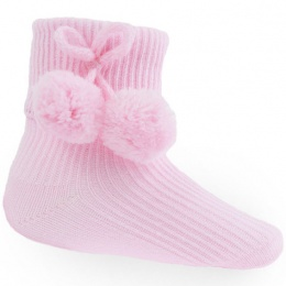 Baby Girls Pink Pom Pom Ankle Socks