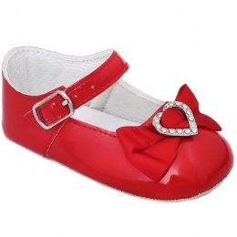 Baby Girls Red Patent Diamante Heart Bow Pram Shoes