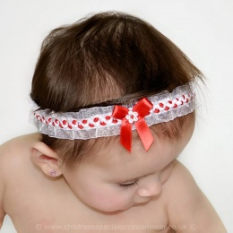 Baby Girls Red & White Organza Headband with Satin & Diamante Bow
