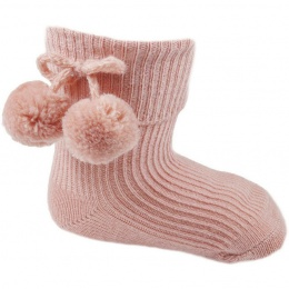 Baby Girls Rose Gold Pom Pom Ankle Socks