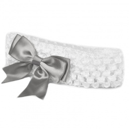 Baby Girls White Crochet Headband with Silver Satin Bow