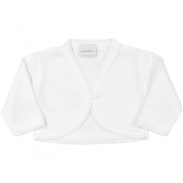 Baby Girls White Plain Acrylic Long Sleeved Bolero