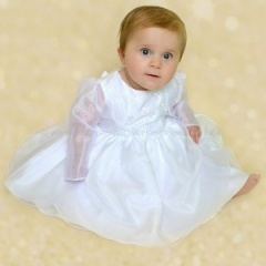Baby Girls White Butterfly Special Occasion Dress & Organza Bolero