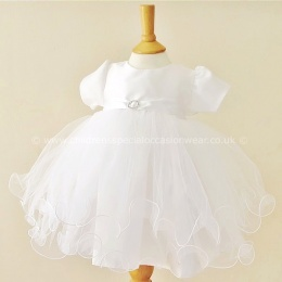 Baby Girls White Diamante Tulle Christening Dress