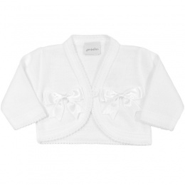 Baby Girls White Double Bow Acrylic Bolero