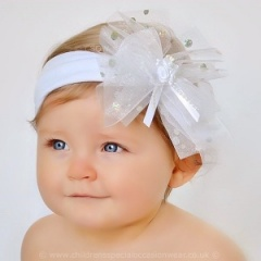 Baby Girls White Large Organza & Sequin Bow Cotton Headband