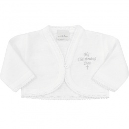 Baby Girls White My Christening Day Acrylic Bolero