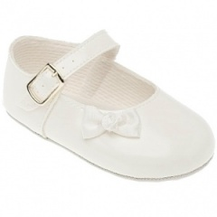 Baby Girls White Patent Bow Baypods Pram Shoes