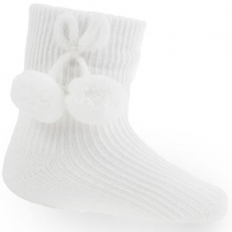 Baby White Pom Pom Ankle Socks