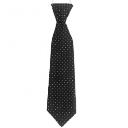 Boys Black Dot Satin Tie on Elastic