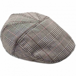 Boys Black Tartan Check Flat Cap