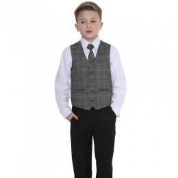 Boys Black & Tartan Tweed Blue Check 4 Piece Suit