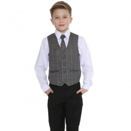 Boys Black & Tartan Tweed Orange Check 4 Piece Suit