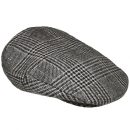 Boys Black Tweed Blue Check Flat Cap
