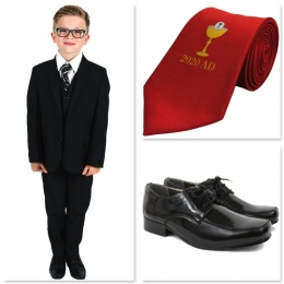 Boys Black Communion 5 Piece Suit, Shoes & Tie