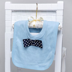 Baby Boys Blue Cotton Bib with Navy Dickie Bow Tie