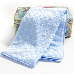 Sky Blue Rosebud Christening Minky Wrap with Satin Trim