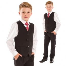 Boys Black 4 Piece Slim Fit Suit