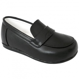 Boys Black Matt Smart Loafer Slip On Shoes