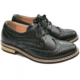 Boys Black Matt Brogue Derby Pointed Shoes
