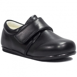 Boys Black Matt Formal Velcro Shoes