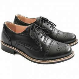 Boys Black Brogue Oxford Pointed Shoes
