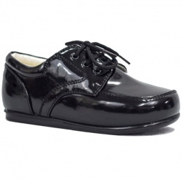 Boys Black Patent Formal Lace Up Shoes