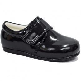 Boys Black Patent Formal Velcro Shoes
