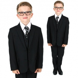 Boys Black 5 Piece Slim Fit Suit