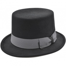 Boys Black Soft Wool Top Hat with Grey Band