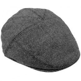 Boys Grey Striped Wool Flat Cap