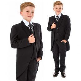 Boys Black 5 Piece Slim Fit Tail Jacket Suit