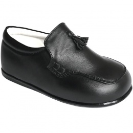 Boys Black Matt Smart Tassel Loafers
