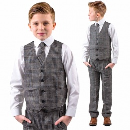 Boys Black Tweed Blue Check 4 Piece Waistcoat Suit