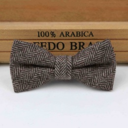 Boys Brown Herringbone Wool Bow Tie with Adjustable Strap