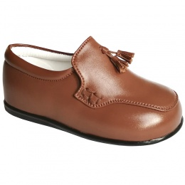 Boys Brown Tan Smart Tassel Loafers