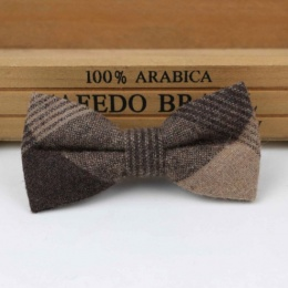 Boys Brown Tweed Patchwork Bow Tie with Adjustable Strap