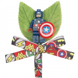 Boys Captain America Buttonhole with Superhero Ribbon