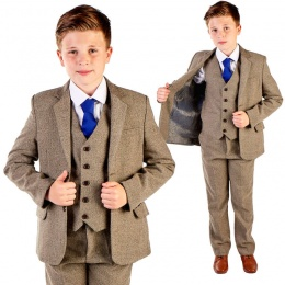 Boys Chestnut Brown Herringbone 5 Piece Jacket Suit