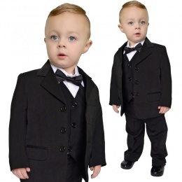 Boys Black 5 Piece Evening Bow Tie Suit