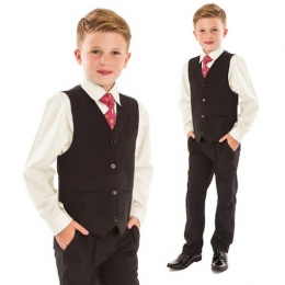 Boys Cream & Black 4 Piece Slim Fit Suit