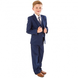 Boys Dark Blue 5 Piece Double Pocket Jacket Suit