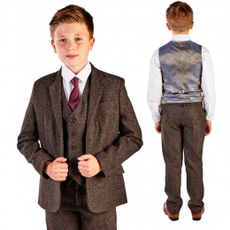 Boys Dark Brown Brushed Tweed 5 Piece Jacket Suit